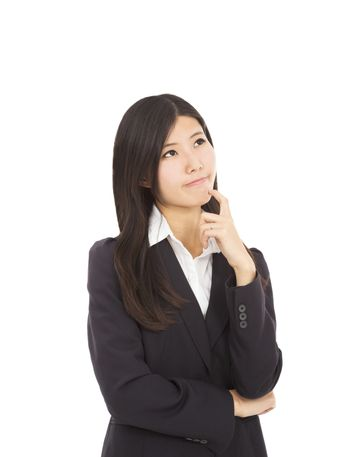 businesswoman is thinking the solutions