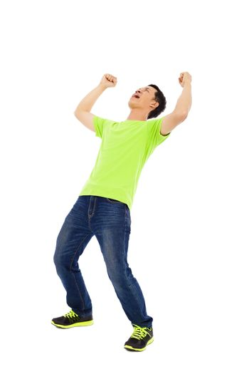 Young man raise hands and screaming
