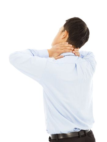 businessman holding his neck with pain