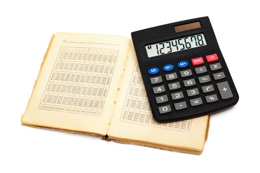 calculator with an old book