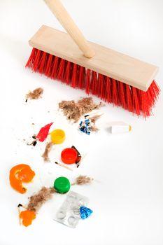 mop and mixed debris