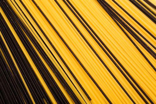 black and yellow pasta