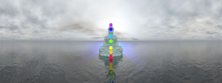 Buddha meditating with seven colorful chakras upon ocean by grey sunset, 360 degrees effect