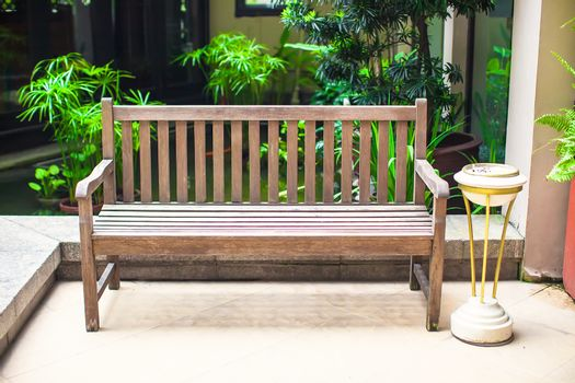 Wooden bench in the hotel