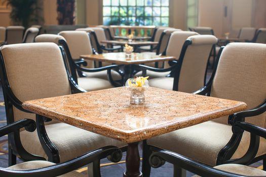 Indoor cafe in luxury hotel