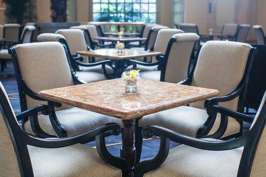 Indoor quiet cafe in luxury hotel