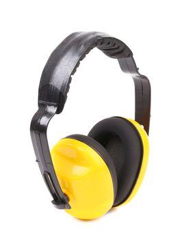 Yellow protection headphones.