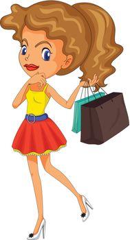 Illustration of a girl shopping