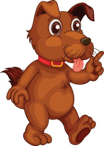 Illustration of a single cute dog in cartoon style