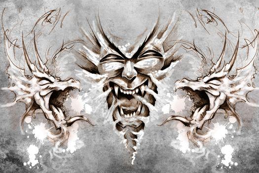 Nightmare Tattoo design over grey background. textured backdrop.