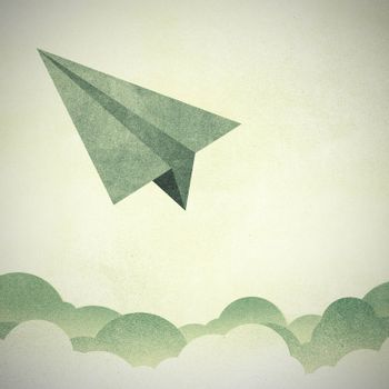 Paper Texture,Paper airplanes flying against sky and clouds