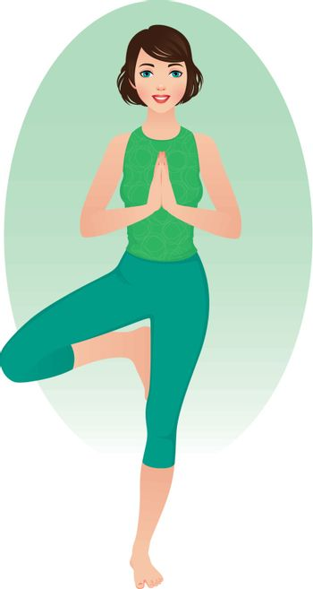 Stock illustration of a girl practicing yoga
