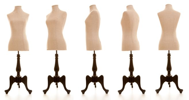 mannequin or dressmakers dummy taken from different angles
