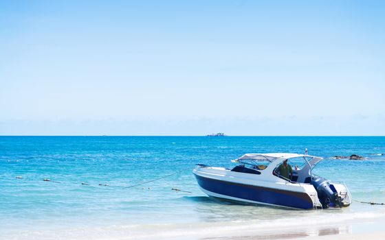 Speed boat in the summer
