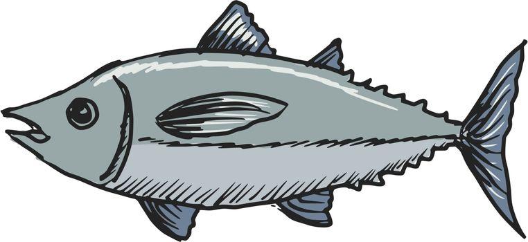hand drawn, sketch, cartoon illustration of tuna