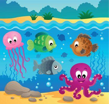 Underwater ocean fauna theme 1