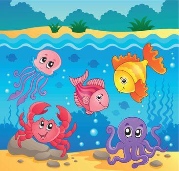 Underwater ocean fauna theme 5