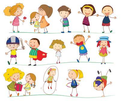 Illustration of simple kids on white