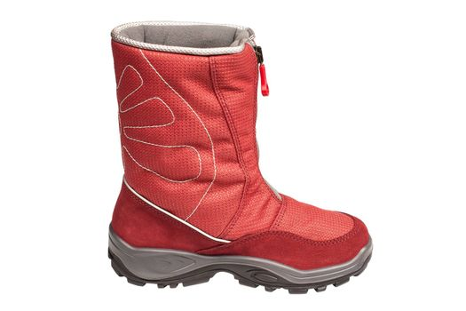 one children's red waterproof boot on a white background