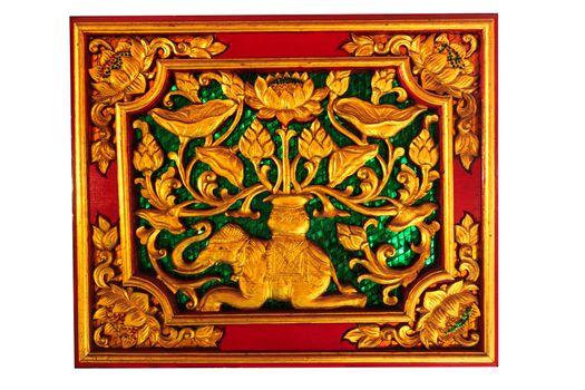 Pattern of wood frame carve elaphant and flower