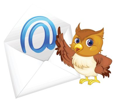illustration of a owl with mail envelop on a white background