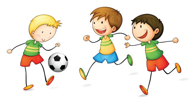 illustration of boys playing football on a white background