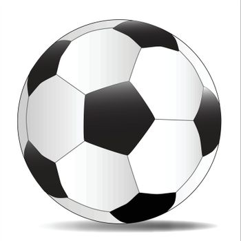 A typical soccer football isolated over a white background.