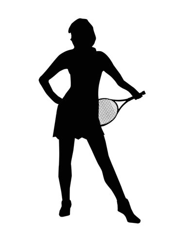 Silhouette of a sexy sports woman isolated over a white background