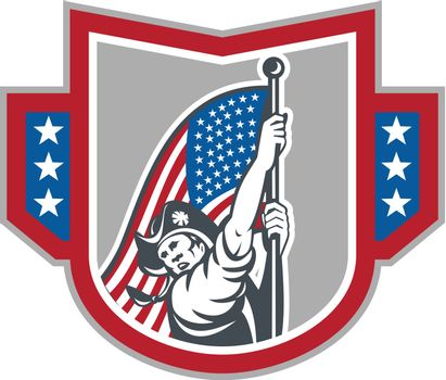 American Patriot Holding Up Stars Stripes Flag