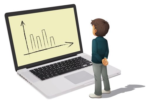 illustration of a business man standing in front of monitor
