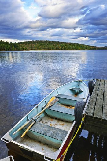 Rowboat docked on Lake of Two Rivers in Algonquin Park, Ontario, Canada