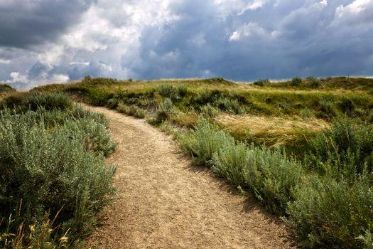 Walking trail in Badlands with dramatic sky in Dinosaur provincial park, Alberta, Canada