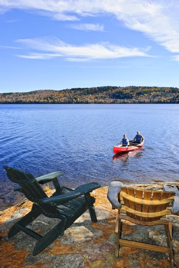 People returning from canoe trip on Lake of Two Rivers, Ontario, Canada