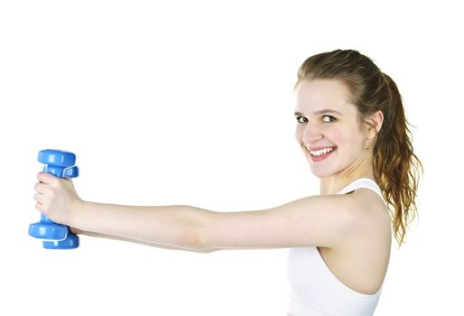Happy healthy fit young woman lifting weights for fitness exercise