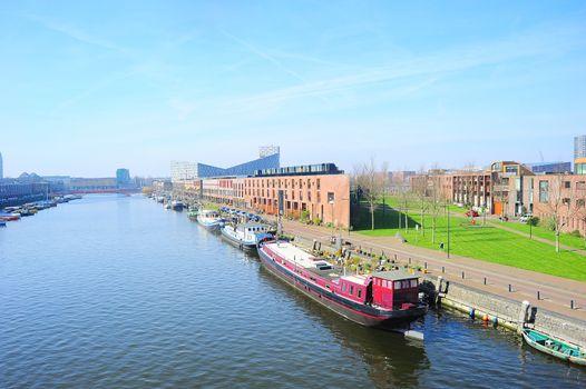 Aerial view of Zeeburg - modern luxury district of Amsterdam, Netherlands
