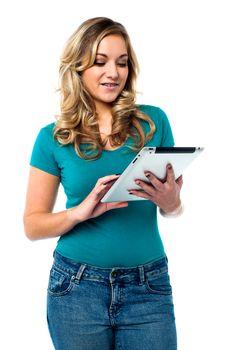 Female model using tablet pc