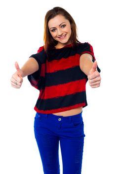 Trendy girl thumbs up