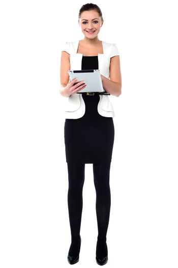 Business woman working on tablet pc