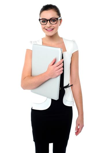 Attractive businesswoman with a folder