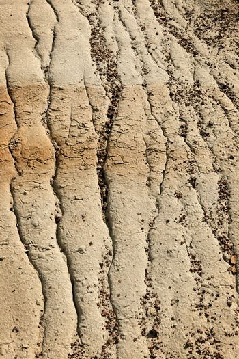 Close up of eroded soil patterns in badlands in Alberta, Canada