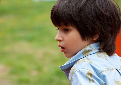 Closeup profile portrait of  little boy