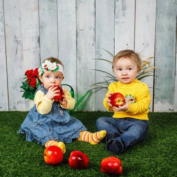 Little brother and sister having fun playing on the lawn with apples