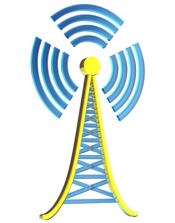Powerful digital transmitter for TV, mobile and multimedia broadcast sends information signals from high tower