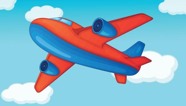 plane on a blue sky background