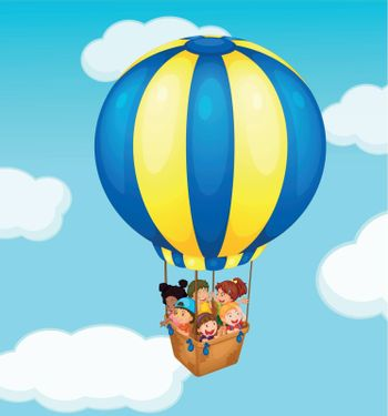 Illustration of children in a balloon