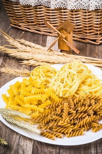 Variety of pasta and rye cones