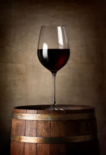 Red wine and barrel