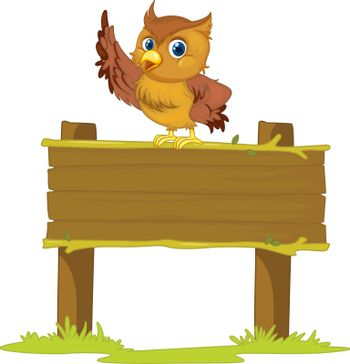 Illustration of an owl on a blank sign