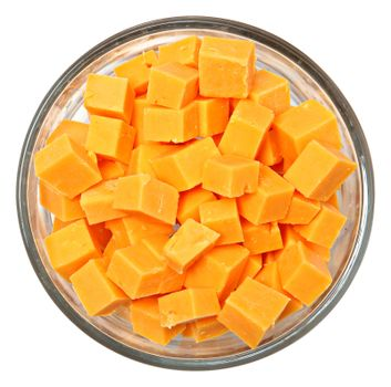 Diced Cheddar Cheese Squares in Bowl Over White