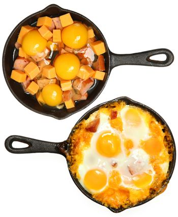 Before After Baked Eggs and Sausage with Cheese